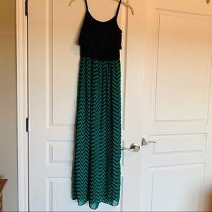 Chevron Spaghetti Strap Maxi Dress